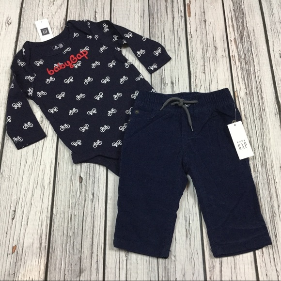 Navy Blue /& Gray Striped Shirt /& Pants Nwt Baby Gap Boys 18-24 Month Outfit